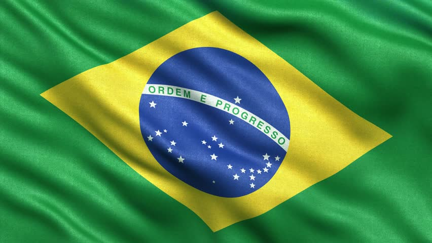 Realistic Ultra-HD flag of Brazil waving in the wind. Seamless loop with highly detailed fabric texture. Loop ready in 4K resolution.
