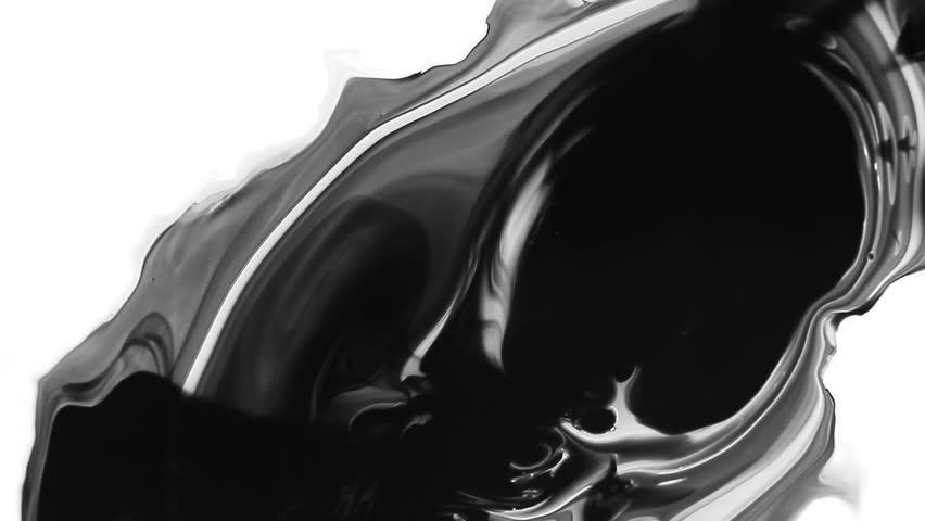 Ink splatter on white. Ink Bleed Bloom. Black expanding    Shutterstock HD Video #6326123
