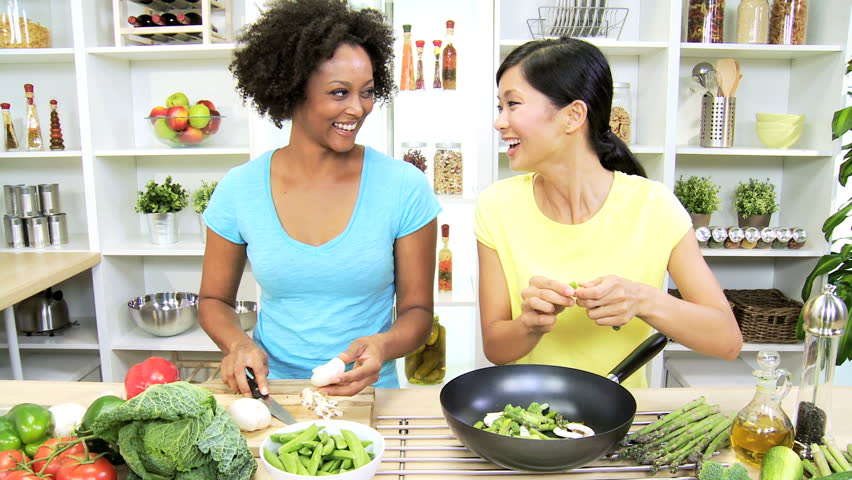 Multi Ethnic Girls Home Kitchen Fresh Stir Fry Vegetables   Young Multi  Ethnic Females Home Kitchen Preparing To Cook Delicious Market Fresh  Organic ...