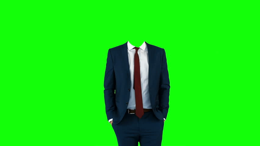 Headless businessman gesturing to camera on green screen