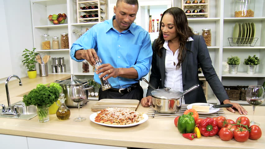 African American Business Couple Healthy Meal