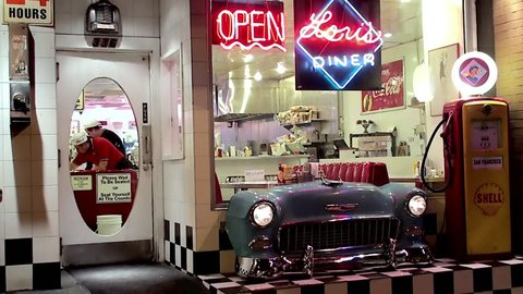 SAN FRANCISCO, - APRIL 04: Vintage style Showcase of Lori's Diner Mason at night. April 04, 2014 in San Francisco, California, USA.