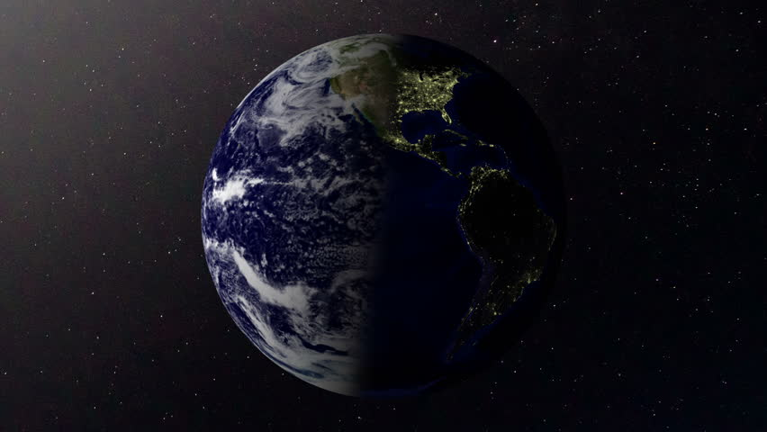 CG animation of day to night from outer space looking at planet earth.