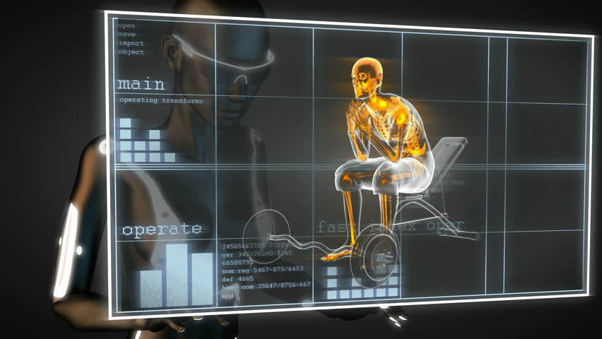 human radiography scan in gym room on hologram #6390143