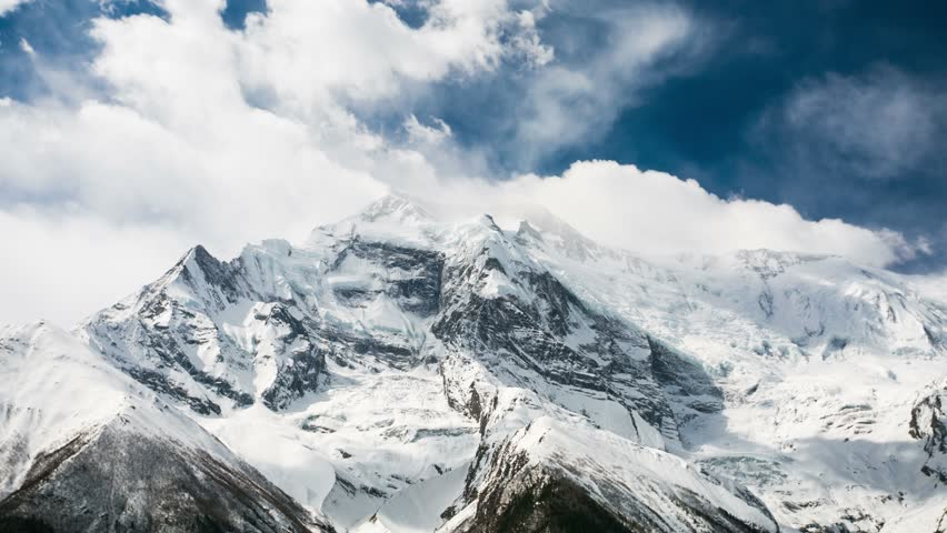 4k Timelapse of Annapurna II mountain, 7,937 m (26,040 ft). Nepal, Himalayas. Annapurna II is a part of Annapurna circuit trek, one of the most popular adventure circuit trek in the world. #6434783