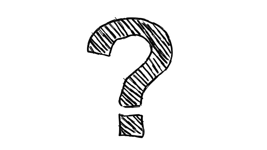 Loopable hand-drawn animated cartoon doodle question mark on white background