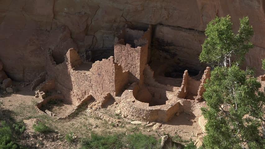 MESA VERDE, COLORADO   MAY 2014: Mesa Verde Square Tower House Indian Ruin  Cliff