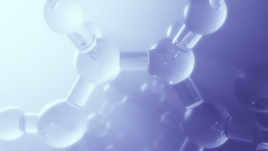 3d fight through complex model of molecule. Seamless loop. Depth of field.