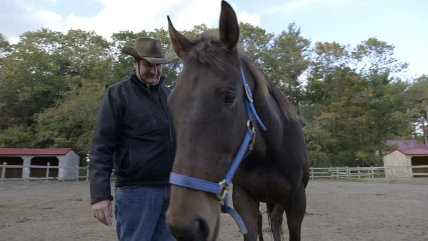 Slow motion shot of a man standing with his horse in a corral