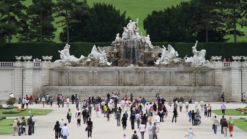 Neptune Fountain in front of Schonbrunn palace in Vienna, Austria