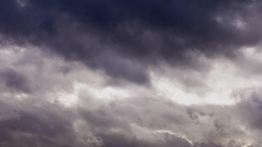 Northamptonshire, UK -January 2014: Bad weather. Time lapse of dark black storm clouds gathering and sky darkening.