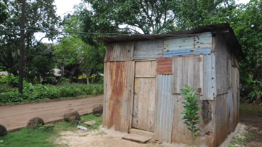 Stock Video Of Ramshackle Zinc House In Jungle With