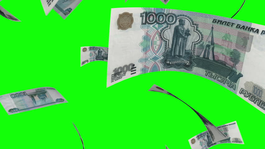 Falling Rubles (Loop on Greenscreen). Falling 1000 Russian Rubles bills. Perfect for your own background. Seamless loop, no motion blur, clean mask on green screen.