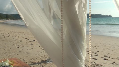 Wedding altar and decorations in Thailand on the beach clip 2 of 3