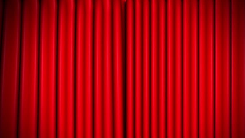 Superb Red Theater Velvet Curtains Opening   HD Stock Footage Clip