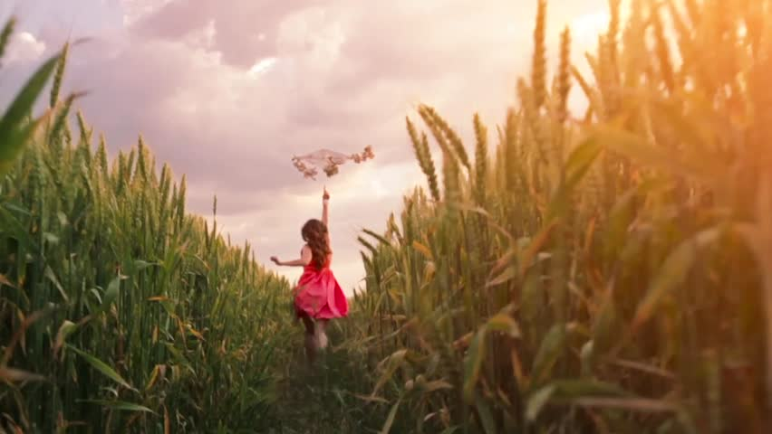 Woman Running Kite Freedom Concept Summer Nature Field