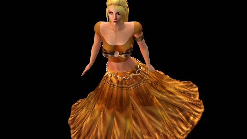 dancer dancing merrily on dance floor.dress&gold skirt with colorful stage light. cg_01092