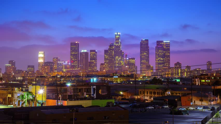 4K. Downtown Los Angeles city skyline at night. Time lapse. | Shutterstock HD Video #6583133