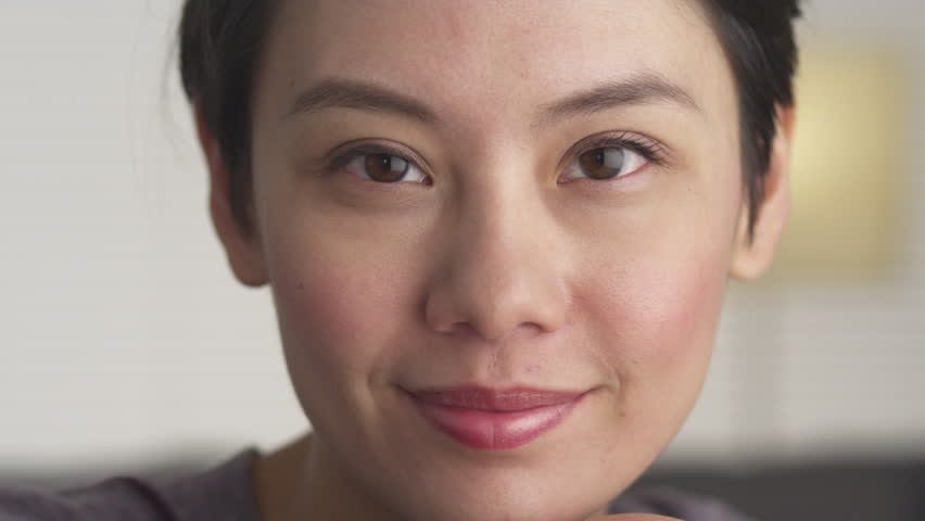 Closeup of Asian woman's face