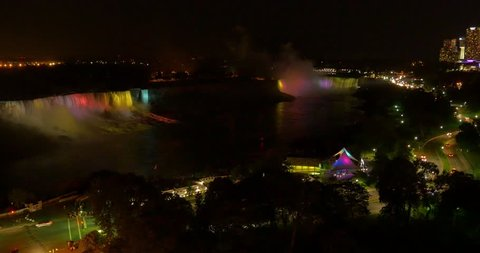 An establishing shot of Niagara Falls at night.