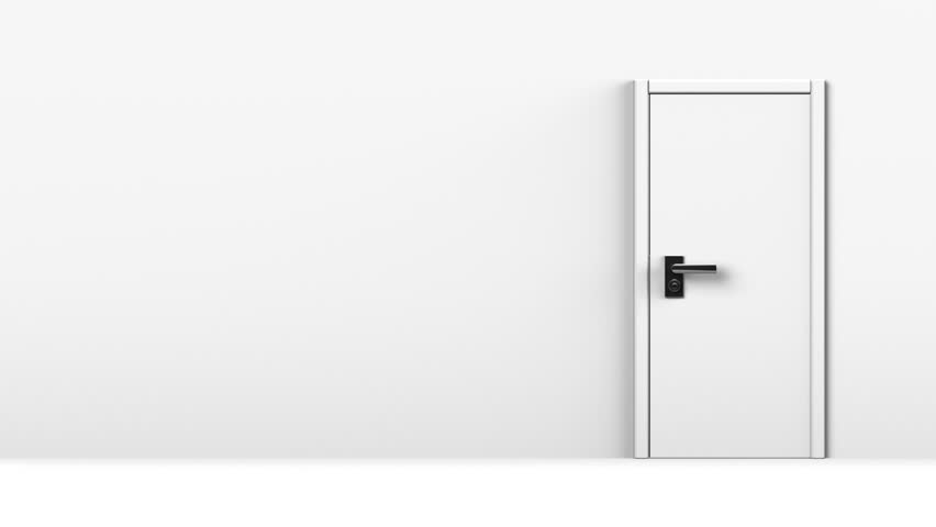 Side View Of Door In White Room With Text Space 3D Render