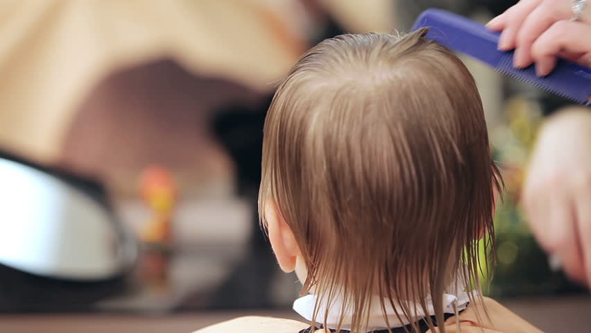Cutting Little Boys Hair Close Up Stock Footage Video 100 Royalty