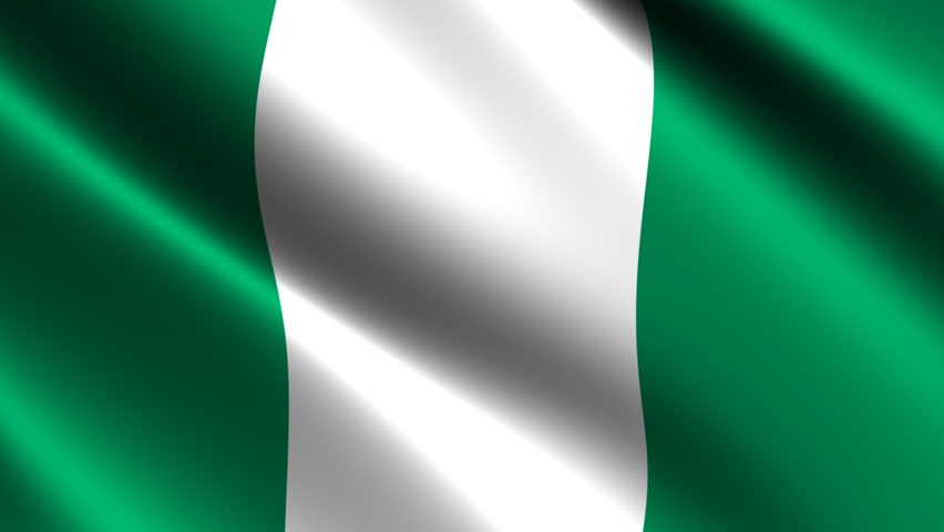 nigerian flag waving in the wind. looping animation stock footage