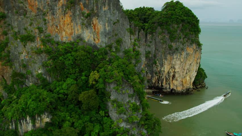 Aerial view of Ao Phang Nga National Park tourist boats visiting James Bond Island Thailand Phi Phi Island, Krabi, Andaman Sea, Asia, RED EPIC