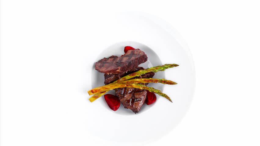 Grilled Red Beef Pork Meat Barbecue Steak Fillet With Asparagus And Hot Pepper Served On Deep Plate 1920x1080 Intro Motion Slow Hidef Hd Stock Footage Video