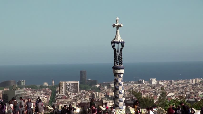 BARCELONA - APRIL 29: View of Barcelona and the bay from the main terrace of Park Guell. April 29, 2014 in Barcelona, Catalonia, Spain | Shutterstock HD Video #6726913