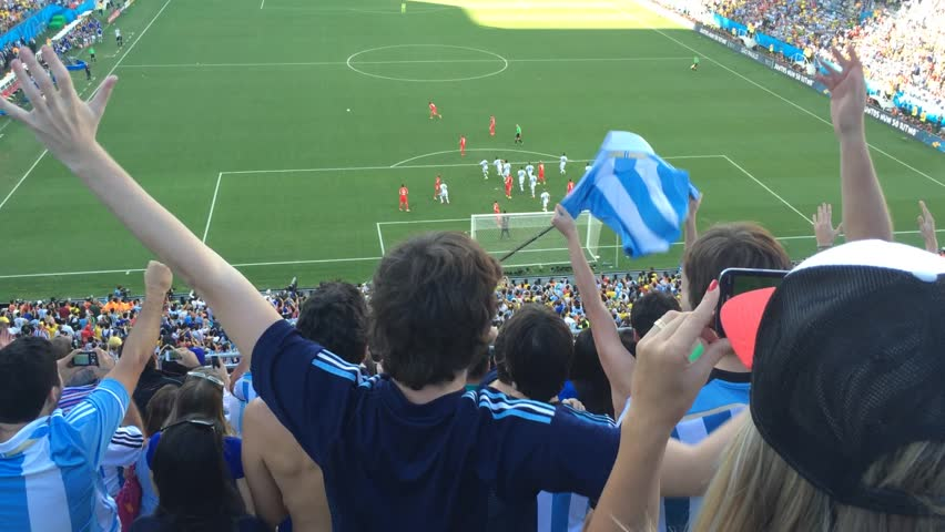 SAO PAULO, BRAZIL - CIRCA JULY: Argentina Fans Celebrate the Victory