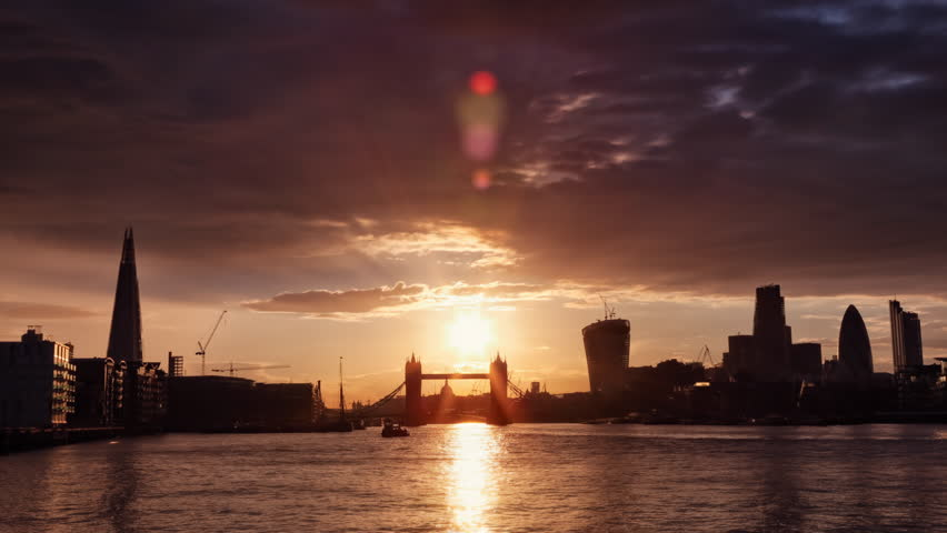 Perfect Sunset with London Tower Bridge, Shard, Walkie Talkie, Time Lapse