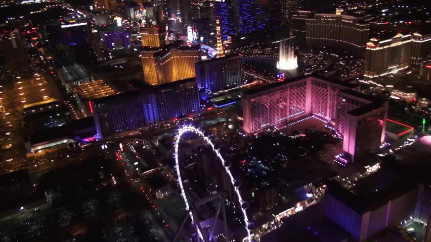 Aerial Vegas High Roller, Linq, and Bellagio Fountains 