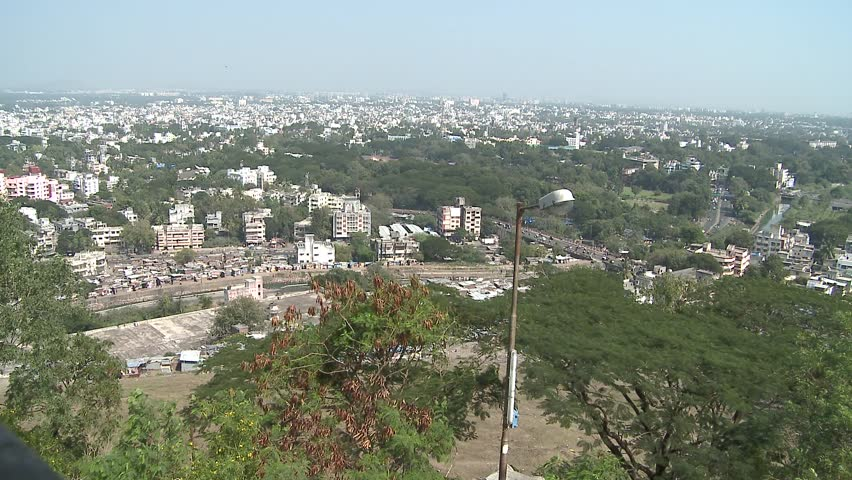 Aerial view of Pune city - The temples on Parvati hill are the oldest heritagestructures in Pune and reminiscent of the Peshwa dynasty.