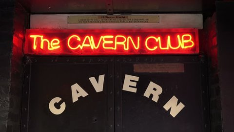 LIVERPOOL, MERSEYSIDE/UK - JUNE 30, 2014: Zoom in to The Cavern Club sign in Mathew Street is known worldwide as the location where the Beatles played in their early career.