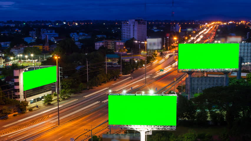 Time lapse long highway and three big billboard day to night  | Shutterstock HD Video #6812722