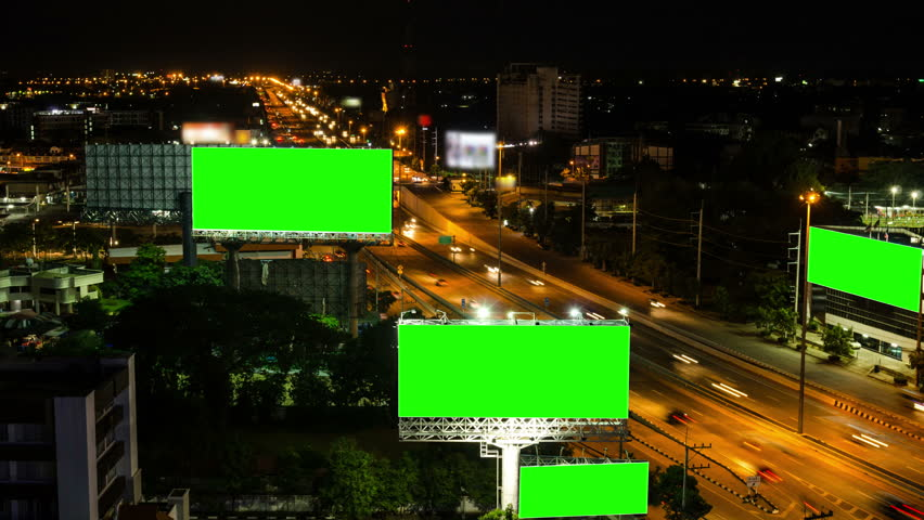 Top view of highway at night with green screen billboard (Zoom out) | Shutterstock HD Video #6813085
