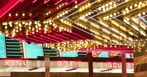 Flashing lights outdoor at casino 4k