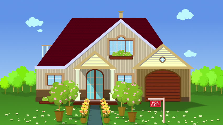 Stock video clip of illustration of house for sale flat for House pics for kids
