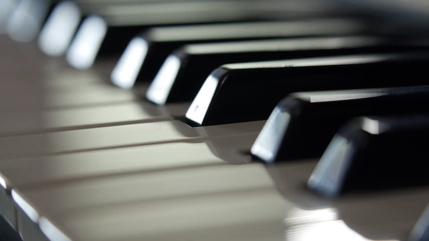 Piano keyboard macro video shooting