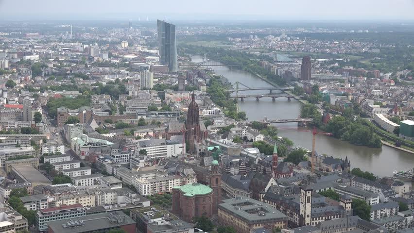 ULTRA HD K Aerial View Of Frankfurt Am Main And River Germany - Frankfurt river