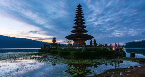 4K Timelapse Movie Sunrise of Pura Ulun Danu Bratan Temple, Bali, Indonesia