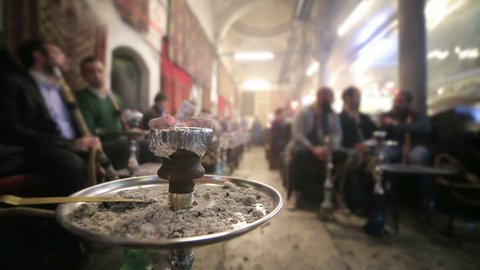 People smoking shisha at Nargile Cafe, Shisha place around Grand Bazaar, Istanbul