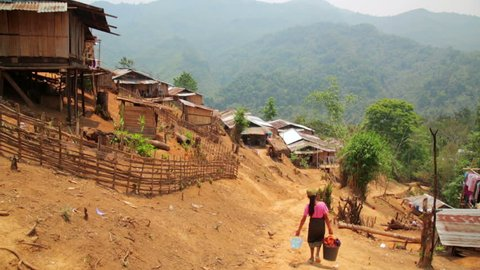 indigenous tribal culture of Akha tribe village, Pongsali, Laos