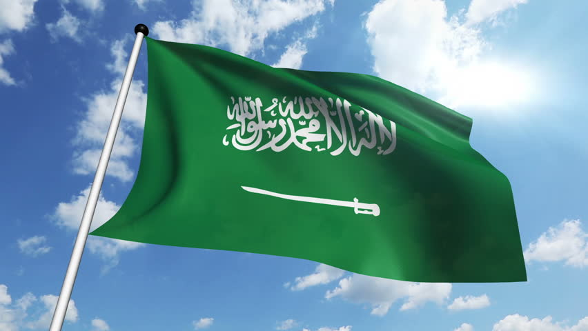 Flag of Saudi Arabia with fabric structure against a cloudy sky | Shutterstock HD Video #6946603