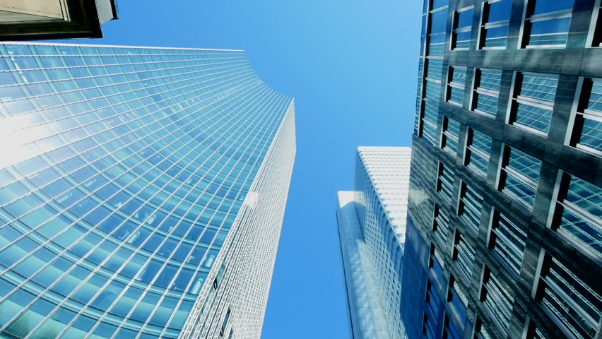 business company office buildings. high angle view of concrete and glass skyscrapers | Shutterstock HD Video #6951583