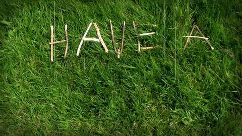 Hippie Happy 'Have a Nice Day'. Retro feel message looks like an old film movie. Great to put on the end of a film, Power Point, web page. Animated twigs and shot on a warm and sunny afternoon.
