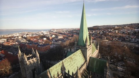 TRONDHEIM, NORWAY, JANUARY 2014 Aerial drone view over Nidarosdomen cathedral in Trondheim; Norway.