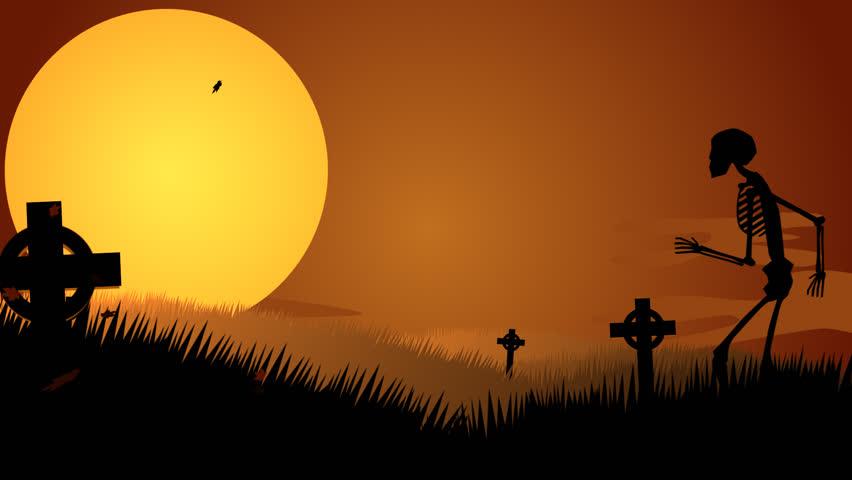 01622 Silhouette Of Human Skeletons Walking In Spooky Graveyard At Halloween Night | Shutterstock HD Video #6962023