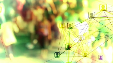 Social network loop with crowd background. Connected avatar icons over slow motion defocused crowd of people. Representing social media marketing, online communities and user groups, teamwork etc.